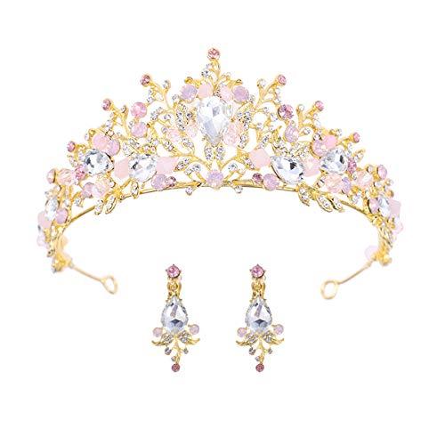 Minkissy Barock Strass Krone und Diademe Kristall Prom Diademe Barock Königin Krone Braut Kopfschmuck mit Ohrringen für Braut Frau Dame