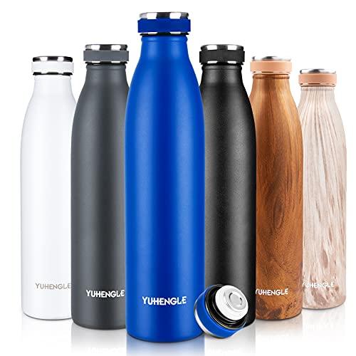 750ml Trinkflasche Edelstahl,Wasserflasche BPA-Frei,Auslaufsichere Thermosflasche-24 Std Kalt und 12 Std Heiß,Doppelwandig Vakuum Isolierflasche,Thermoskanne Flasche Sport Fahrrad Fitness Büro Yoga