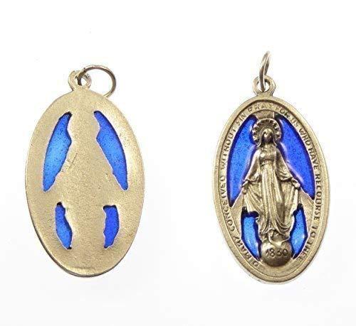 Medalla Virgen María Milagrosa Metal Plateado Católico Vidrio de Color Azul