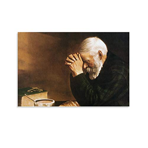 lololo Daily Bread Man Praying at Table Grace Poster Decorative Painting Canvas Wall Art Living Room Posters Bedroom Painting 12x18inch(30x45cm)