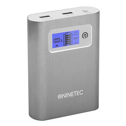 NINETEC PowerDrive 2in1 64GB USB Flash Speicher + 13.400mAh Power Bank Akku Ladegerät in Silber