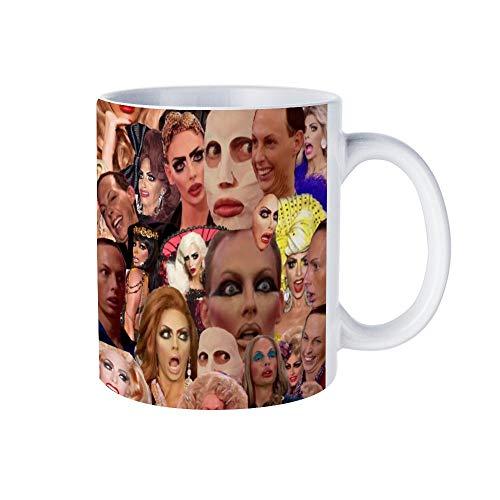 Taza de cerámica para café/té, regalo de Alyssa Edwards, Collage, tazas de café, novedad taza de té blanco 325 ml