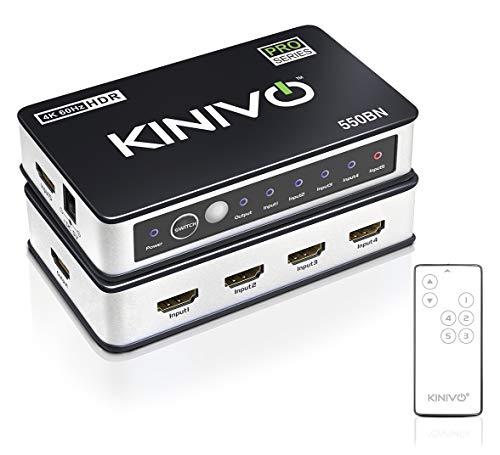 Kinivo 550BN 4K @ 60Hz Conmutador HDMI Premium de 5 Puertos con Control Remoto - Soporta 4K 60Hz UltraHD, Alta Velocidad (18Gbps), HDR, HDCP 2.2 y 3D