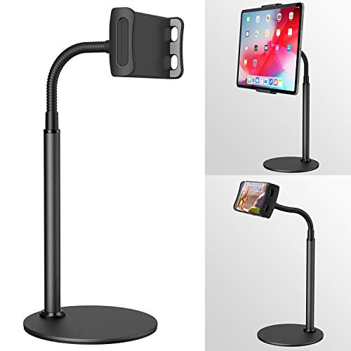 "Tablet&Phone Stand,Klearlook Height&Angle Adjustable Swivel 360 Degree Rotation Gooseneck Flexible Arm Stand Clamp Mount, Metal Stand Holder for 4.7"" to 12.9"" Tablets and All Smartphones - Black"