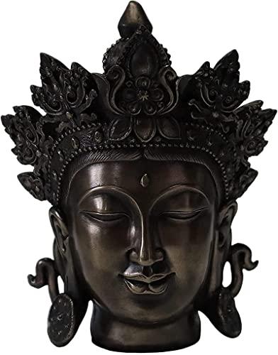 Buddha-Kopf-Statue, Bronze-Finish Buddha-Statue, buddhistische meditierende Buddha-Figur, kleine Sakyamuni-Skulptur aus Harz Religiöser Geist Ornament Wohnkultur-Messing 20 x 15,5 x 12 cm (8 x 6
