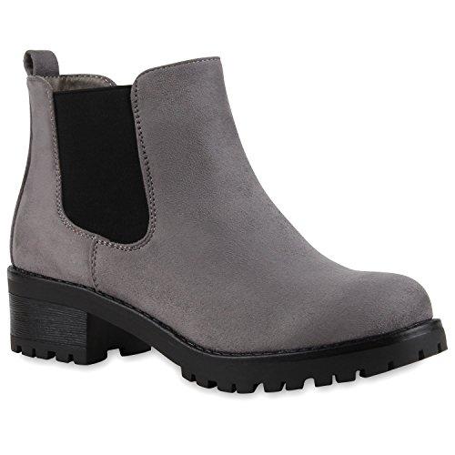 Stiefeletten Damen Chelsea Boots Profilsohle Blockabsatz Leder-Optik Booties Schuhe 111295 Grau Bernice 39 Flandell