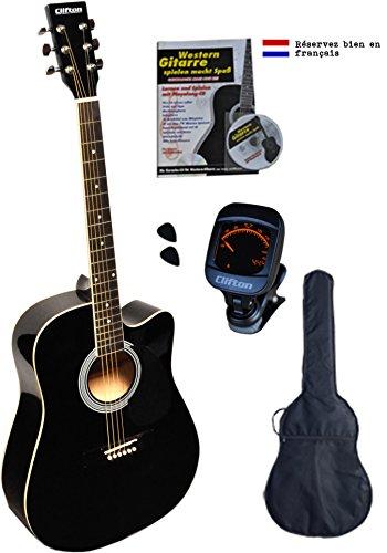 Clifton Guitarra Western Cutaway, diapasón de palisandro, con funda acolchada, libro de karaoke, afinador digital y 2 púas