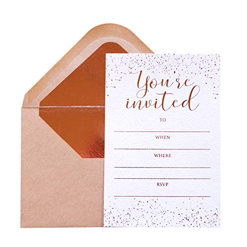 Invitation Cards - 24-Count 4' x 6' White Invitation Cards ''You are Invited'' in Rose Gold Foil Lettering with 26 Foil Kraft Envelopes – for Wedding, Bridal Shower, Baby Shower, Birthday Invitations