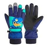 TRIWONDER Ski Handschuhe für Kinder, Kinder Skihandschuhe, Warme und Winddichte Winterhandschuhe mit Klettverschluss für Junge und Mädchen Outdoor Sport (Dunkelblau, S (4-6 Jahre alt))