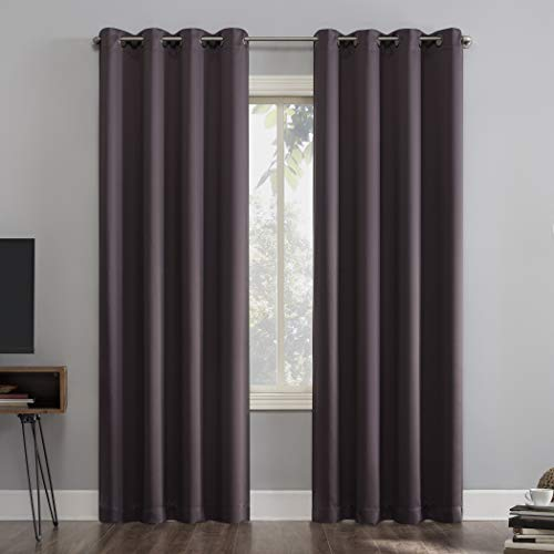 """Sun Zero Nordic 2-Pack Theater Grade Extreme Total Blackout Grommet Curtain Panel Pair, 52"""" x 84"""", Fig"""