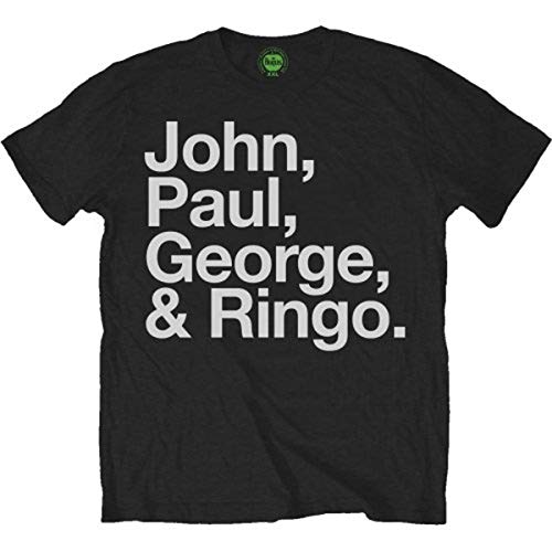 The Beatles John, Paul, George & Ringo offiziell Herren Nue Schwarz T Shirt, Schwarz (Black), L