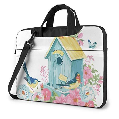 Laptop Shoulder Bag - Watercolor Bird House Butterfly Floral Printed Shockproof Waterproof Laptop Shoulder Backpack Bag Briefcase 13 Inch