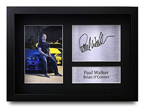 HWC Trading Paul Walker Brian O'Conner A4 Gerahmte Signiert Gedruckt Autogramme Bild Druck-Fotoanzeige Geschenk Für Fast & Furious Filmfans
