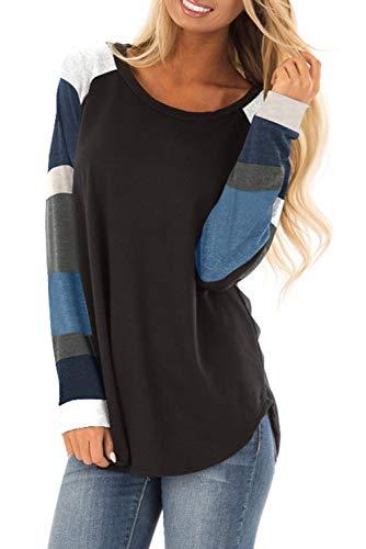 ANFTFH Damen Mode Farbblock Tunika Rundhalsausschnitt Langarm T-Shirts Tops für Frauen Casual Loose Shirt Blusen Schwarz-S