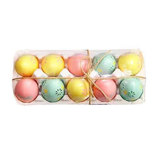 Dakeam - 10 huevos de Pascua de 6 cm, huevos de Pascua, decoración para manualidades, huevos de plástico como decoración para Pascua, huevos para manualidades, pintar, C