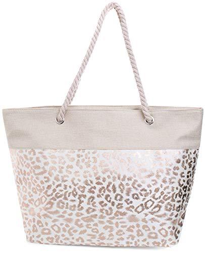 Faera Strandtasche mit glänzendem Streifen oder Leoparden-Muster XXL Shopper Beach Bag mit breiter Kordel Schultertasche, Taschen Farbe:Bronze