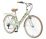 BIKESTAR Bicicleta de Paseo Aluminio Rueda de 28' Pulgadas | Bici de Cuidad Urbana 7 Velocidades Vintage para Mujeres | Menta
