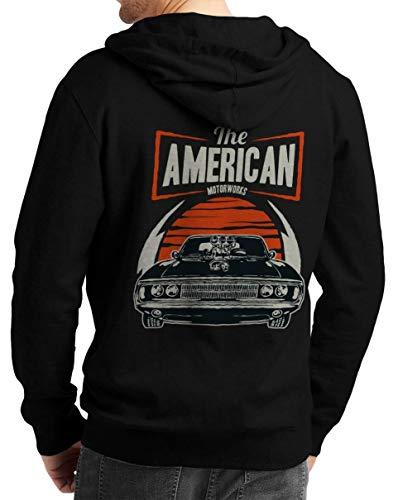 Herren Zip Hoodie Sweat-Jacke mit Kapuze Kapuzen-Jacke Winter mit Motiv Bedruckt Hot-Rod US-Car Amerika Mustang Challenger Muscle-car V8 The American Schwarz 2XL