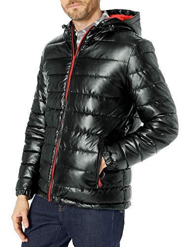 Cole Haan Signature Men's Hooded Faux Leather Jacket, Black/Orange, X-Large