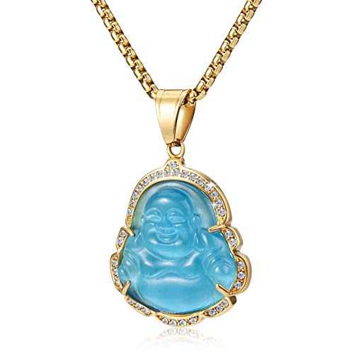 WESTMIAJW Lucky Laughing Lake Blue Buddha Pendant Chain Necklaces Amulet Jewelry for Men Women Boys 60cm