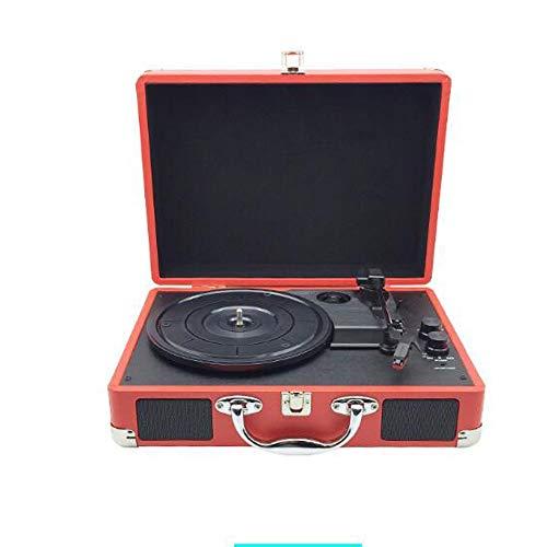 GAO-bo Vinyl Player, Portatile Bluetooth Giradischi, 3-Speed 33/45/78 RPM Valigia, Triangolo Alluminio Tubo Movimento, Cartuccia Ruby, Supporto PH/INT/BT (Color : B)