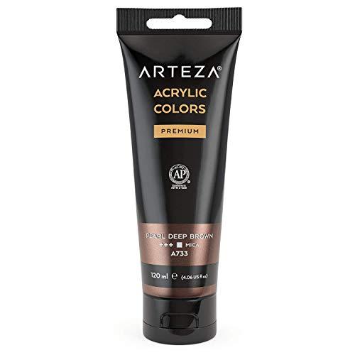 Arteza Pintura acrílica metalizada, Marrón Oscuro (Pearl Deep Brown A733), tubo de 120 ml, con alta pigmentación resistente a la decoloración, no tóxica, para artistas, pintores aficionados y niños