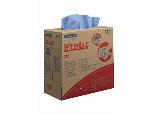 WypAll, 8375 X80 Tücher, 1-lagige, 5 Zupfboxen x 80 Tüchern, blau
