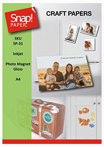 SNAP Bedruckbare Foto-Glanz-Magnetfolien für Tintenstrahldrucker 0,30mm dick A4 x 4 Blatt SP-31-4
