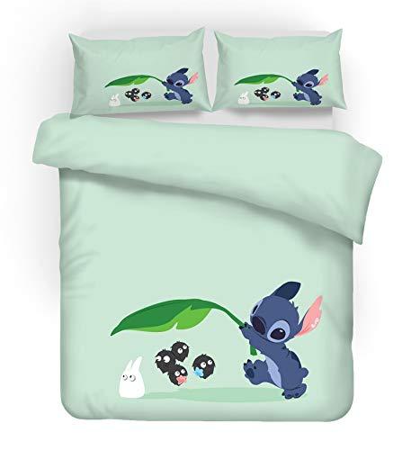 SMNVCKJ Ropa de cama para adolescentes Lilo und Stitch, de microfibra, con dibujos animados, impresión 3D, funda de edredón y funda de almohada de anime (2,individual 140 x 210 cm)