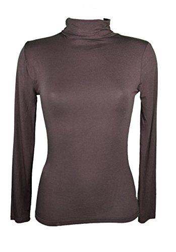 Miss Rojo - Camiseta para debajo del jersey para mujer, manga larga, cuello vuelto Marrón marrón