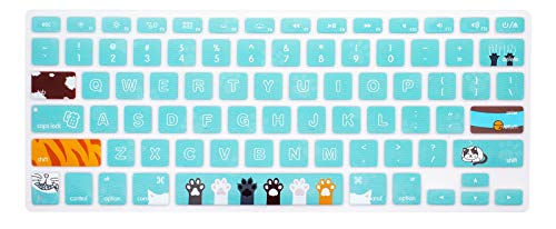 WYGCH Pattern Stylish Keyboard Cover Compatible MacBook Pro 13' 15' 17' (with or w/Out Retina Display) Silicone Skin for iMac and MacBook Air 13',USA Version-Cat Claw