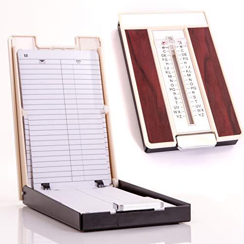 Retro-Telefonregister im 70er-Jahre-Stil, A-Z Pop-up-Register mit Vergrößerungsschieber & Holzmaserung für bis zu 400 Telefonnummern