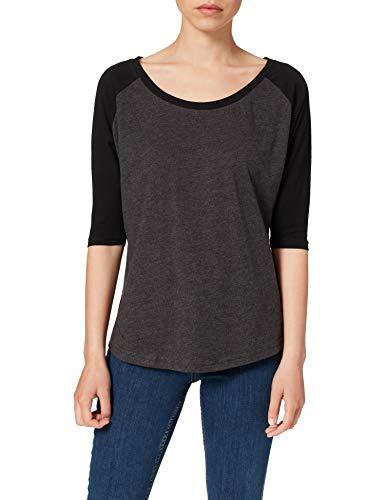 Build Your Brand Damen Ladies 3/4 Contrast Raglan Tee T-Shirt, Charcoal/Black, XS