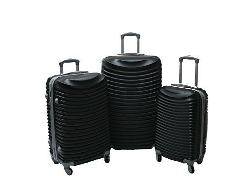 JustGlam - Set 3 Trolley set2030, valige rigide in ABS policarbonato, bagaglio piccolo da cabina, chiusura con lucchetto / nero