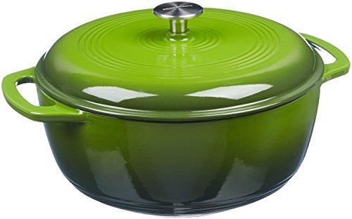 Amazon Basics Enameled Cast Iron Covered Dutch Oven, 6-Quart, Green