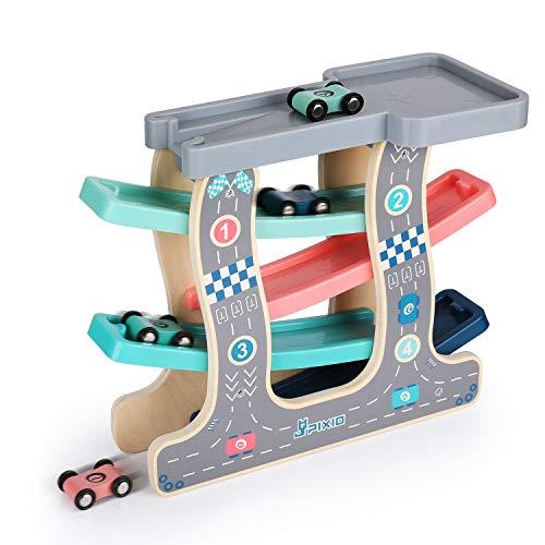 Ulmisfee Pista de Carreras de Madera Pista de Carreras de Autos con 4 Autos pequeños para niños pequeños y niñas Edad 1 2 3 años y hasta Clásico Juguete de Desarrollo temprano