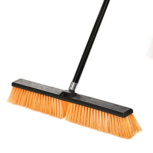 Alpine Industries Push Broom Heavy Duty Smooth Surface Broom Deck Scrubber Long Handle Commercial Floor Scrub Broom Cleans Dirt, Debris, Sand, Mud, Leaves and Water (Yellow, 24 in)
