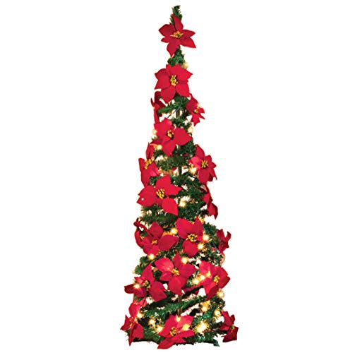 Collections Etc. Lighted Holiday Poinsettia Pull-Up Christmas Tree with Red Poinsettias, White Lights and Greenery