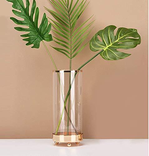 Hey_you Glasvase mit Metallbasis, Ins Style Kristallklare Blumenvase Gold Line Mund Terrarien Vase, Blumenpflanze Dekorationsbehälter für Home Office Dekor, Geschenk für Hochzeit Einweihungsparty