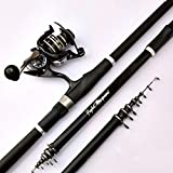 NYKK Angelrute Rocky Rod Rocky Angelrute Carbon-Super Light Super Hard Hand Sea Dual-Purpose Angel Set Teleskop Angelrute und Rollen Fliegenfischer Rod & Reel Combos (Größe : 3.0 Meters)