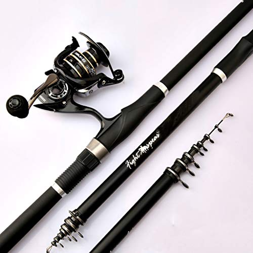 NYKK Angelrute Rocky Rod Rocky Angelrute Carbon-Super Light Super Hard Hand Sea Dual-Purpose Angel Set Teleskop Angelrute und Rollen Fliegenfischer Rod & Reel Combos (Größe : 3.6 Meters)