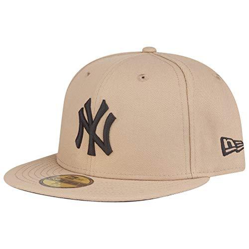 New Era 59Fifty - Cappellino con attacco MLB New York Yankees, colore: Nero cammello, Uomo, Beige, 7 5/8