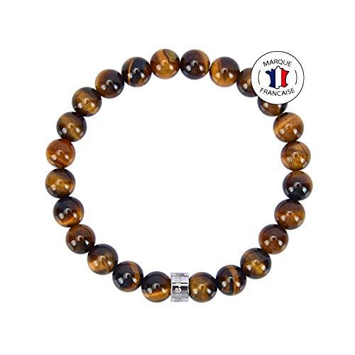Attraction ZenTM Immunity Bracelet – Natural Stones – South African Tiger Eye – Stainless Steel Z Bead – Expandable Bracelet – Handmade – 8 mm Stones