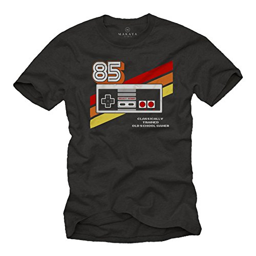 Gamer T-Shirt Hombre - Vintage Game Controller - Camiseta Friki Regalos Gaming Negro S