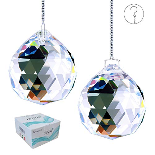 Toowood Top K9 Clear Hanging Crystals Glass Prism Balls Pendant with Hanging Chains for Rainbow Suncatcher ( 1.6'/40mm 2 Pack )
