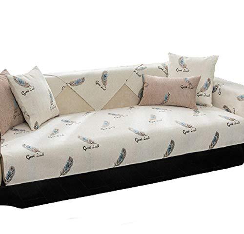 HXTSWGS Housse de canapé, Housse de canapé, siège inclinable matelassé en Cuir en Forme de L, Dossier d'accoudoir Cover-Rice White_110 * 110