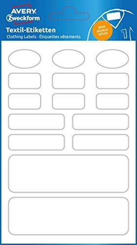 AVERY Zweckform 63026 - Adesivi per vestiti da bambino, 15 pezzi (adesivi in tessuto per abbigliamento per bambini, autoadesivi, permanenti, scrivibili con nome per asilo, scuola)