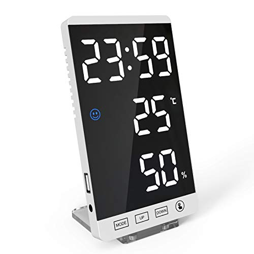 TIANTIAN Digital Alarm Clocks with USB Charging Port, Temperature/Humidity, Adjustable Dimmer,12/24H, 6 Inch Large Display LED Mirror Electronic Clock for Bedroom Bedside Home Office