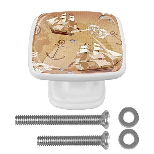 [4 piezas] Tiradores de cajón de cristal transparente con tornillos para cocina, aparador, armario, baño, armario, ancla para barco de vela oceánico