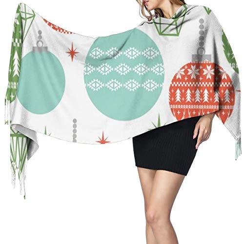 Liliylove Weihnachts-Ornamente, Weihnachtsschmuck, süßer Schal, super weich mit Quaste, modisch, warm, groß, Winter-Stola für Damen
